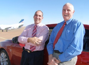 Mayor Steve Baines and Hon Rory McEwan after announcing the million dollar upgrade to Coober Pedy's airport