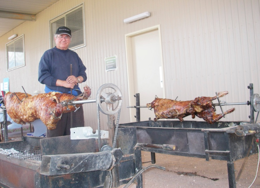 Dragan Rusmir supervising the spit roasts