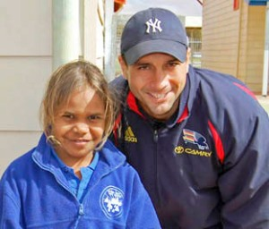 Patricia Brown with Andrew McLeod at Coober Pedy Area School (Photo Rose Temple)