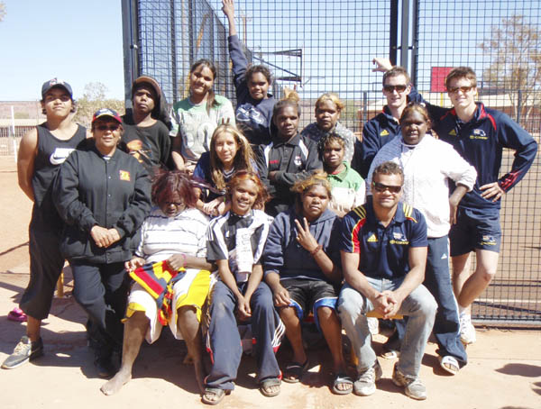 Graham Johncock, Joel Kay and Alec Henry with APY Lands students after presentation (Photo courtesy AFC)