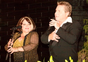 Kate Lara and Antonio Villano sing a duet at the Desert Cave Hotel in Coober Pedy