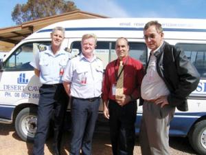Rex Airlines Capt Glenn Beaver, Capt Paul Vincin with Mayor Steve Baines and Desert Cave Hotel Manager Elmar Brdock