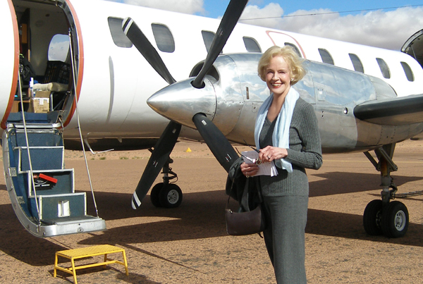 Governor-General Her Excellency Ms Quentin Bryce on the tarmac at Coober Pedy, after a two day visit to the Opal Capital