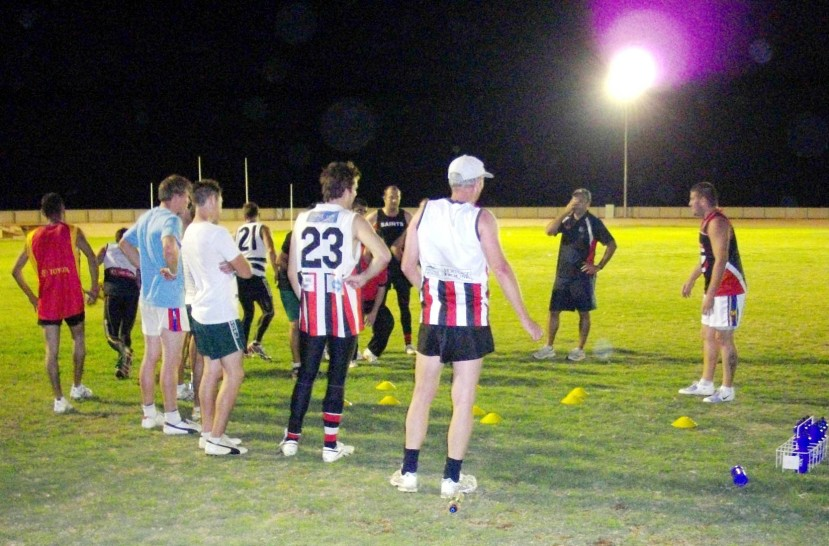 Coober Pedy Saints at Thursday night's training under the lights