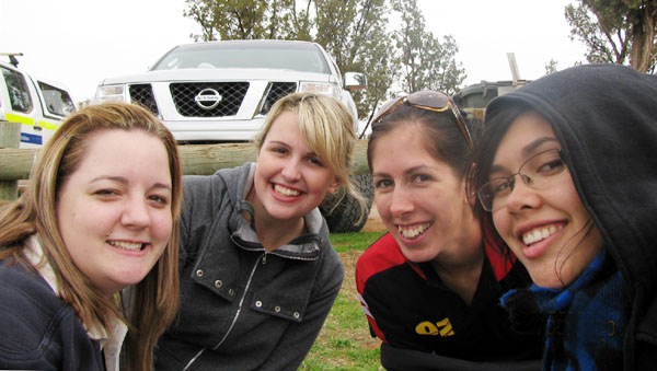 Shannon, Veronica, Jayde and April drove from Coober Pedy to watch the Saints play