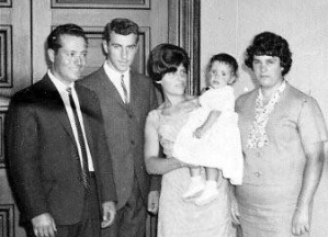 My father Domenico, Godfather, my mother holding me and Godmother Katerina