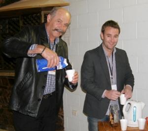 Trader Doug Ilic taking a break with Chad Menzies Gem Trade Show Coordinator