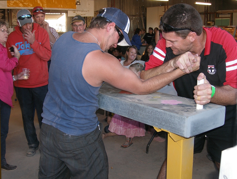 Mark Bell, Coober Pedy Saints football player and Oz Minerals employee came out the victor in the men's arm wrestling on the day
