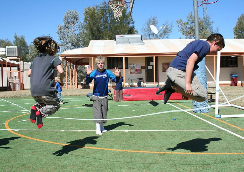 Keana, Kooper and Kale jump the long rope