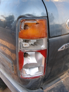 Both tail lights of the four wheel drive were smashed