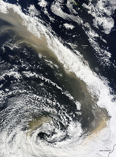 Dust from a South Australian dust storm reaches parts of New Zealand.  Nasa image