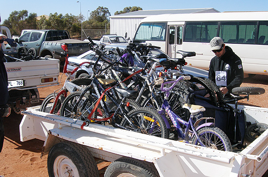 The Bike trailer being secured for the trip out to the Breakaways