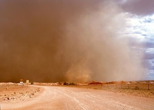 Violent dust storm in Coober Pedy and the outback with winds estimated
