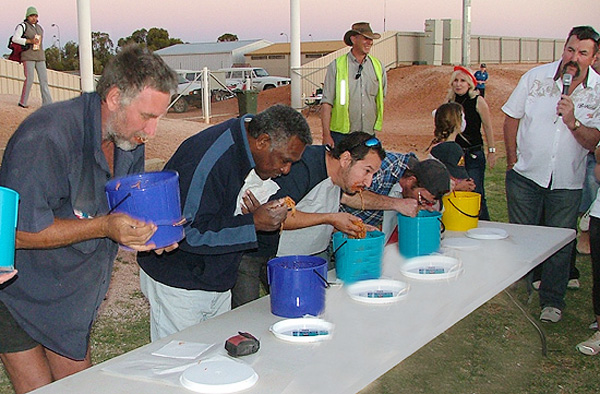 Hungry after the big BOLT are Gary Bremer, John Kustin and Carmelo Crisa and Martin Grava all from Coober Pedy with Bryce Tichner taking the opportunity to place bets on who would finish first