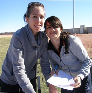 "Jayde Frew and Melissa Rosewarne dealing the pre-""BOLT"" paperwork"