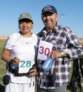 Ella Marijanovic preparing for the 15km walk and husband Drago Marijanovic all set for the 27.5km Walk at Oxiana oval