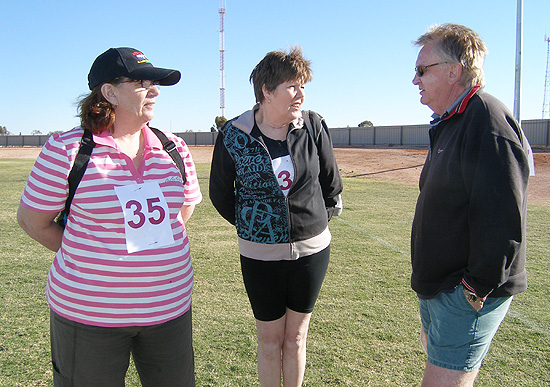 Miriam Kammermann, Kate McLeod and Trevor McLeod are some of the 10km Walkers preparing for their day in the desert