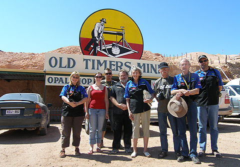 Trevor Berry also a Coober Pedy finalist at the Old Timer's Mine hosting a Solar Challenge Team after having educated them on operating opal mining machinery and a tour of the underground mine