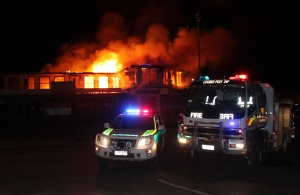 Volunteer services work all night to contain a fire in Hutchison Street Coober Pedy