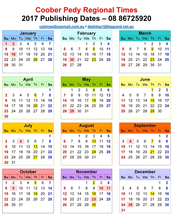 coober-pedy-regional-times-publishing-dates-2017