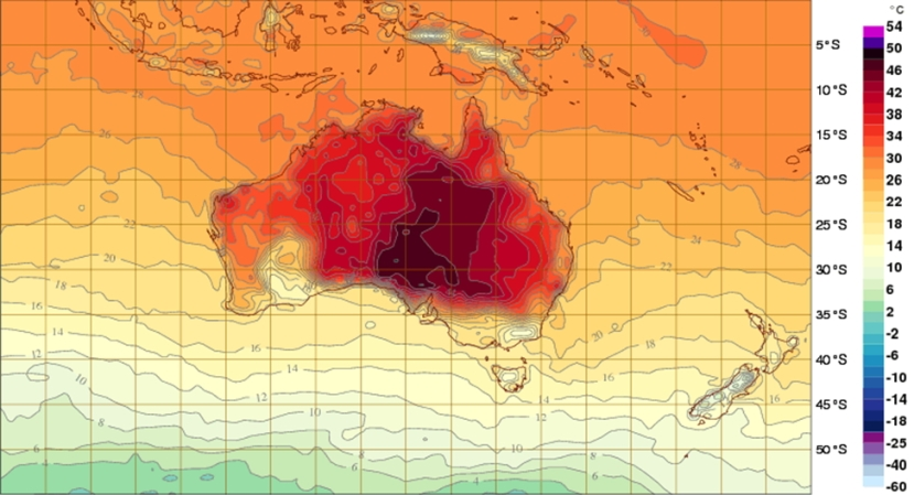 Interactive Weather Map of heat affected areas of South Australia for 1 January 2014