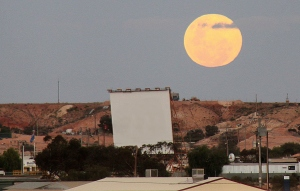 At dusk every 2 weeks families are able to view movies at the Coober Pedy DriveIn