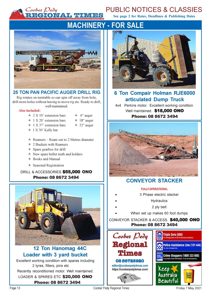 Opal Mining machinery (plant) for sale - at Coober Pedy